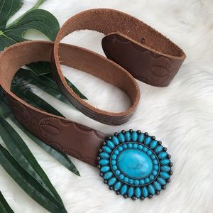 Lucky Brand | Leather & Turquoise Buckle Belt